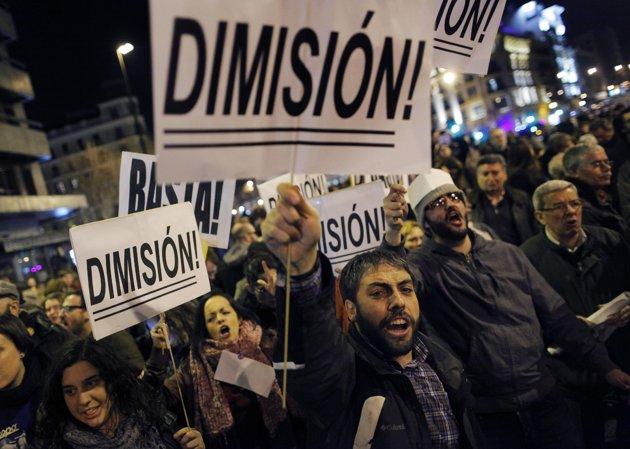 Manifestation à Madrid pour demander la démission du gouvernement