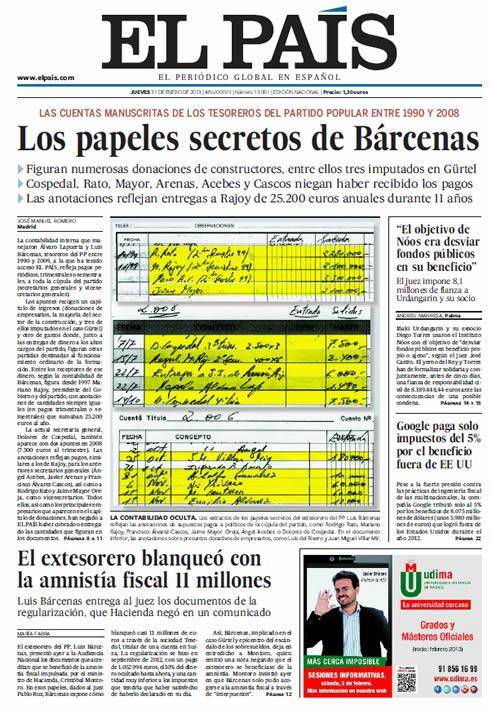 La une d'El País du 31/01/13