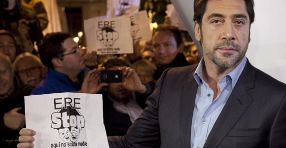 Javier Bardem se joint au manifestant anti-ERE lors de la première de Skyfall à Madrid