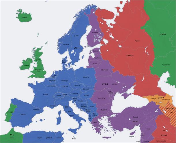 fuseaux horaires Europe