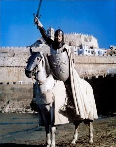 Charlton Heston devant la ville de Peñiscola, Le Cid